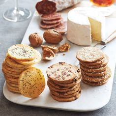 Freeze cracker dough in a roll. Make round crackers by slicing the partially frozen dough. Great for making ahead! I made a version with a liquid part of 1:1 white wine:water and 1/3 of rye flour, came out great.