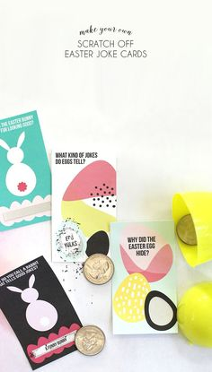 Make your own scratch off Easter Joke Cards - great alternative to candy for filling Easter Eggs. Allergy safe too! Free printable and tutorial.