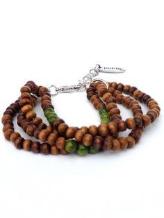Armband met bruine houten kralen en groene halfedelstenen van PerElle op Etsy