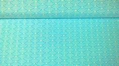 Stoff grafische Muster - Jersey Jerseystoff Wellen weiss türkisblau - ein Designerstück von Stoffe-guenstig-kaufen bei DaWanda