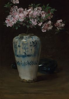 Pink Azalea—Chinese Vase, 1880–90 (?)  William Merritt Chase (American, 1849–1916)  Oil on wood    23 1/2 x 16 9/16 in. (59.7 x 42.1 cm)