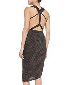 Temptress Sleeveless Metallic Cross-Front Dress