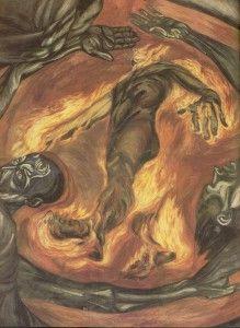 El hombre en llamas, fresco de José Clemente Orozco