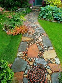 This design ideas are excellent for creating beautiful garden paths that agree with your landscape. Almost all of these examples are simple to create and would work nicely in nearly any garden design. I'm speaking about garden paths. Mosaic Walkway, Pebble Mosaic, Stone Mosaic, Rock Walkway, Mosaic Garden, Walkway Garden, Rock Path, Pebble Garden, Rock Mosaic