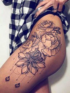 Flower Hip Tattoos, Hip Thigh Tattoos, Leg Tattoos Women, Tattoos For Women Small, Foot Tattoos, Tattoo Hip, Tattoo Flowers, Tattoo Small, Tattoo Forearm