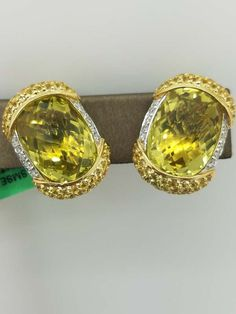 18K Yellow Gold 17.5 g   YELLOW SAPPHIRE Cocktail diamond Cluster Earrings 0.45 ct