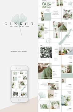 Ginkgo design line features a soft, natural aesthetic that's easy on the eyes and makes great use of white space. --- The cost of the bundle comes down from Instagram Design, Instagram Feed Layout, Feeds Instagram, Instagram Grid, Instagram Posts, Insta Posts, Graphisches Design, Grid Design, Layout Design