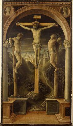 The Three Crosses  Vincenzo Foppa  (Italian, Brescia, active by 1456–died 1515/16 Brescia)  Date: 1450 or 1456 Medium: Tempera on wood Dimensions: 26 3/4 x 14 15/16 in. (68 x 38 cm) Classification: Paintings Credit Line: Accademia Carrara, Bergamo, Giacomo Carrara Collection, 1796