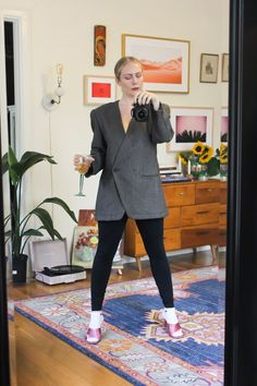 Amazing Vintage Grey Oversized Blazer  Grey Blazer  Vintage Blazer  90s Blazer  Vintage Oversize Blazer  Structured Blazer  Checker