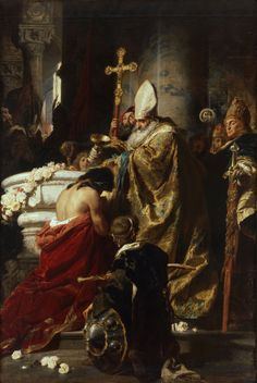 """welovepaintings: """" Benczúr, Gyula The Baptism of Vajk 1875 Oil on Canvas 358 x 247 cm """""""