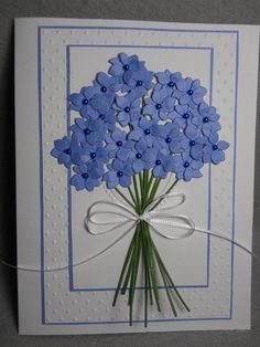 Bouquet of flowers, flowers in a bouquet, pretty bouquet of flowers Embossed swiss dot and center em Flower Birthday Cards, Handmade Birthday Cards, Flower Cards, Greeting Cards Handmade, Paper Flowers, Blue Flowers, Birthday Wishes, Paper Cards, Diy Cards