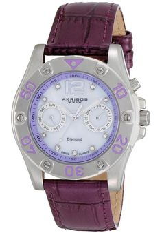 Price:$117.14 #watches Akribos XXIV AK483PU, This Akribos XXIV women's watch is loaded with goodies. Featuring a mother of pearl dial, the date at 3 o'clock position and day of week at 9 o'clock subdials are powered by the Swiss quartz movement. Genuine diamond dot the hour markers. The dial is protected by Shatter resistant Krysterna crystal and comes complete with a genuine calfskin leather strap