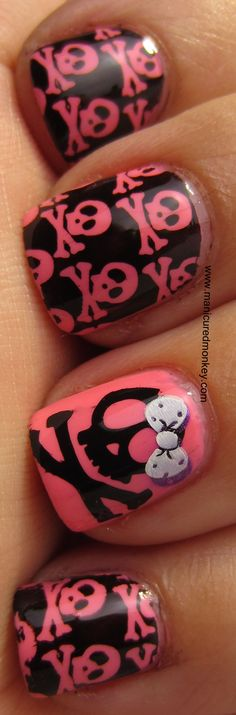 Skulls  Bows - BLACK and pink - NAILS - essie (color Knockout Pout) and Wet N Wild nail polish (color Black Creme) - click for tutorial - design - art