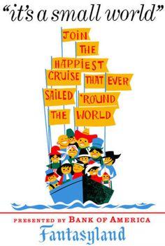 Vintage Disney Poster Fantasyland Small World 8 5 x 11 Vintage Disney Posters, Retro Disney, Disney Movie Posters, Vintage Disneyland, Disney Love, Disney Stuff, Pixar Poster, Vintage Mickey, Retro Vintage