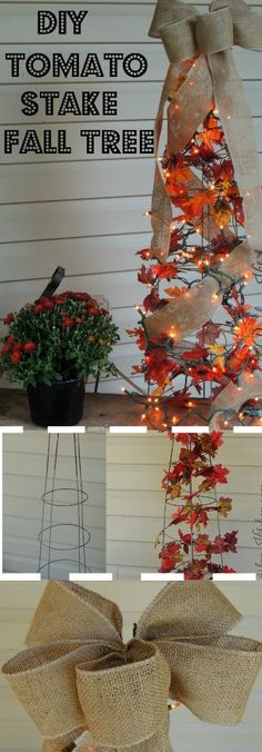 DIY Tomato Stake Fall Tree I have been seeing these around everywhere lately and decided to try making one of my own. They are really easy to make and look so stinking cute! Crafts To Make And Sell, Diy And Crafts, Crafts For Kids, Autumn Lights, Autumn Trees, Pinterest Board, Fall Crafts, Halloween Crafts, Burlap Kitchen