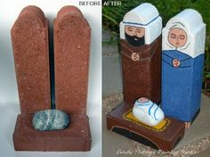 Painting Rock & Stone Animals, Nativity Sets & More: Painted Rocks & Stones: Before and After