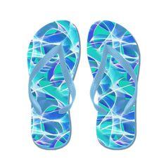 Waves Pattern on Aqua Flip Flops by Terrella