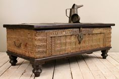 Moss Green Reclaimed Salvaged Antique Indian Wedding Trunk Coffee Table Storage Chest on Etsy, $645.82 CAD