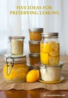 5 ideas for preserving lemons - Going to give a few of these a try! http://www.simplebites.net/five-ideas-for-preserving-meyer-lemons-recipe-meyer-lemon-finishing-salt/#more-22694