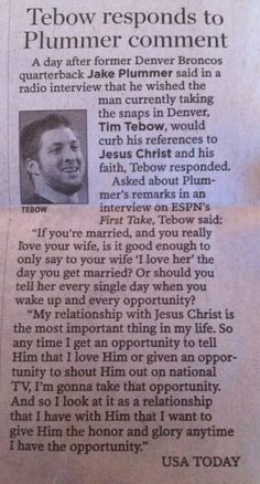 I love that Tim Tebow stands up for God!