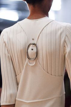White racer back dress with buckle; fashion details // Sportmax Spring 2016