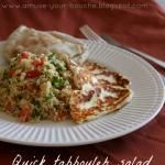Quick tabbouleh salad with grilled halloumi