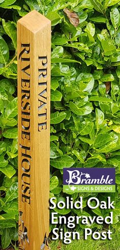 Check out this Beautiful Solid Oak Engraved Bollard Post by Bramble Signs - 70 x 70 x Home Wooden Signs, Home Signs, Bramble, Wooden House, Solid Oak, Ladder, Island, Gift Ideas, Check