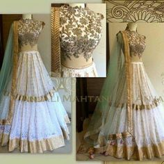 Beautiful Indian Wedding Lehenga ensemble with heavy gold embroidery. Pakistani Dresses, Indian Dresses, Indian Outfits, Indian Attire, Indian Ethnic Wear, Desi Clothes, Indian Clothes, Indian Couture, Half Saree