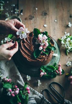 Chocolate Cake flower decoration