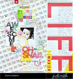 Layout: Life noted - Check out how to use big bold graphics and colors on a baby layout.