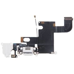 [USD4.49] [EUR4.12] [GBP3.20] iPartsBuy Charging Port Dock Connector Flex Cable Replacement for iPhone 6(White)