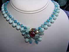 Vintage Antique Unsigned Designer Light Blue 2 Strand Necklace with Glass Beads | eBay