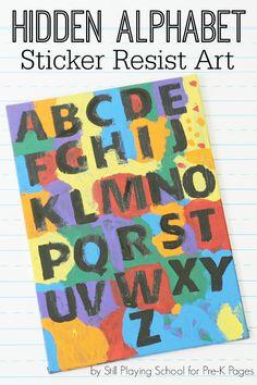 The Hidden Alphabet: Sticker Resist Art. :: alphabet craft :: homemade alphabet chart