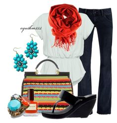"""""""Colorful Crochet Tote"""" by cynthia335 ❤ liked on Polyvore featuring Hudson Jeans, Wilfred, Dolce&Gabbana, Melissa, H&M, Fantasy Jewelry Box and Stephen Dweck"""