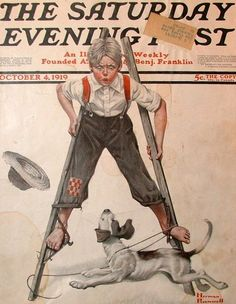 Vintage Magazine Cover - By Norman Rockwell - 04 October 1919 Norman Rockwell Prints, Norman Rockwell Paintings, Magazine Pictures, Saturday Evening Post, Vintage Magazines, Vintage Art, Vintage Vogue, Vintage Images, American Art