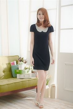 Show details for D2225 Beads collar knit dress