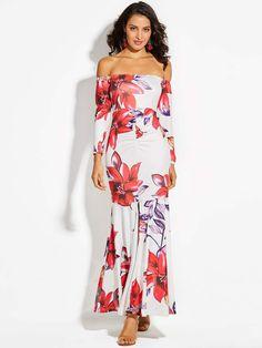 cf768146e19 Off Shoulder Long Sleeve Vacation Women s Maxi Dress