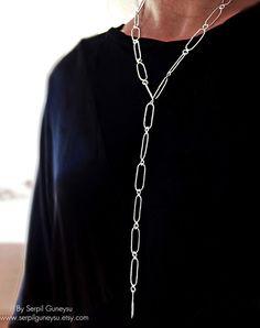 Long Link Handmade Chain Necklace  925 in Silver  by serpilguneysu, $67.00
