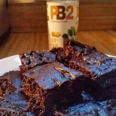 flourless, glutenfree brownies made with PB2. Each brownie = 130 calories.