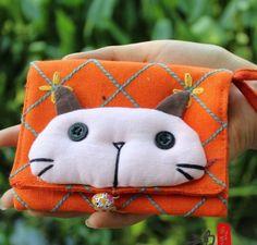 Cotton Handmade Big Face Cat Purse - Lifestyle