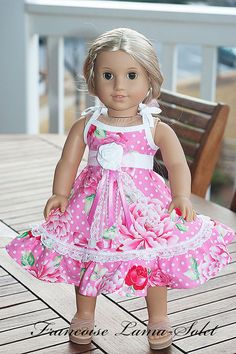 "American Girl Doll Clothes 18"" doll dress - Pearl - Dress like my doll"