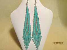 Handmade Native Style Seed Bead Long Turquoise Silver Beaded Bugle Bead Earrings | eBay