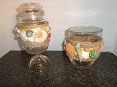 2 upcycled candle jarsburlap yellow ribbon by sparklinwhite, $19.99