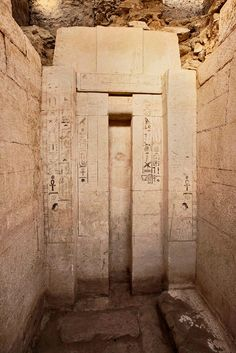 Photo of false door in newly discovered tomb of Shepseskaf 'ankh, Head of the Physicians of Upper and Lower Egypt.