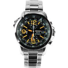 Seiko Solar Orange Dial Watch SSC077P1 SSC077P SSC077
