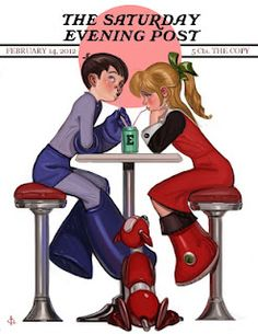 """Rock N Roll Valentine"" - Rockwell-style Megaman"