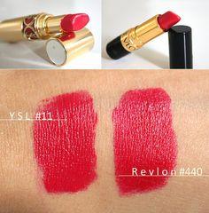 YSL Rouge Volupte Lipstick in #11 Dupe: Revlon Super Lustrous Lipstick in (440) Cherries in The Snow