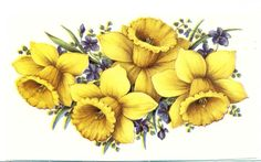 "2 Yellow Daffodil Purple Flower 4 7/8""  Waterslide Ceramic Decals Tad"