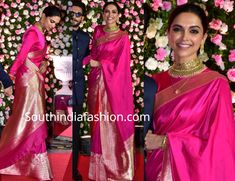 Deepika and Ranveer at Kapil Sharma- Ginni Chatrath Wedding Reception - Celebrity Sarees , Designer Sarees, Salwar Suits - Modes Deepika Padukone Saree, Deepika In Saree, Deepika Padukone Hairstyles, Sonakshi Sinha, Bollywood Saree, Pink Saree Blouse, Saree Dress, Pink Saree Silk, Chiffon Saree
