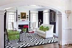 Transitional Black and White Living Room with Green Accents